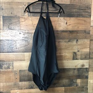 Forever 21 Black Halter One Piece Bathing Suit